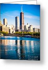 Chicago Skyline Picture With Hancock Building Greeting Card