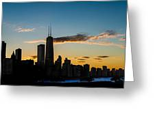Chicago Skyline Silhouette Greeting Card by Steve Gadomski