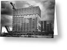 Chicago Sun Times Facade After The Storm Bw Greeting Card