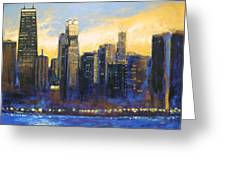 Chicago Sunset Looking South Greeting Card