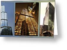 Chicago Tall Shoulders Trump Sears 333 W Wacker Triptych 3 Panel 01 Greeting Card