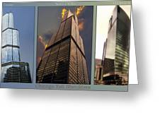 Chicago Tall Shoulders Trump Sears 333 Wacker Triptych 3 Panel 03 Greeting Card