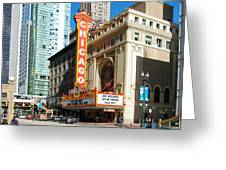 Chicago Theater Marquee Sign On State Street Greeting Card