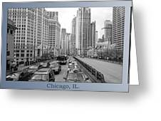 Chicago Triptych 3 Panel Black And White Greeting Card