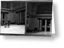 Chicago Union Station The Great Hall 2 Panel Bw Greeting Card
