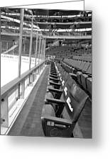 Chicago United Center Before The Gates Open Blackhawk Seat One Bw Greeting Card
