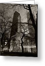 Chicago Water Tower B W Greeting Card
