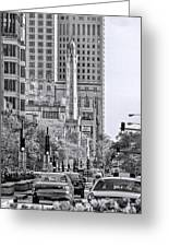 Chicago Water Tower Beacon Black And White Greeting Card