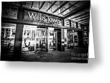 Chicago Willis-sears Tower Sign In Black And White Greeting Card by Paul Velgos