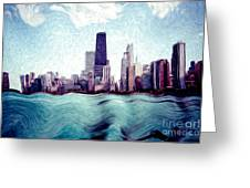 Chicago Windy City Digital Art Painting Greeting Card