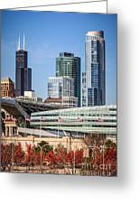 Chicago With Soldier Field And Sears Tower Greeting Card by Paul Velgos