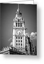 Chicago Wrigley Building Clock Black And White Picture Greeting Card