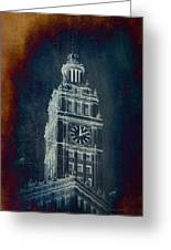 Chicago Wrigley Clock Tower Textured Greeting Card
