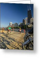 Chicago's Lakefront Bike Path On A Summer Evening Greeting Card