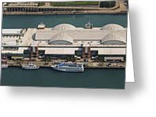 Chicago's Navy Pier Aerial Panoramic Greeting Card by Adam Romanowicz