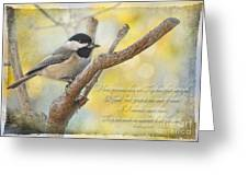 Chickadee With His Prize And Verse Greeting Card
