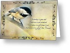 Chickadee With Inspiration Greeting Card
