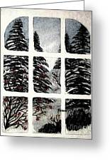 Chickadees And Dogberries Abstraction Greeting Card