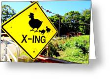 Chicken Crossing Greeting Card