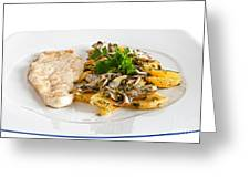 Chicken Escalope With Potatoes And Mushroom Greeting Card