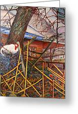 Chicken On Fence  Zinc Arkansas Greeting Card