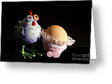 Chicken With Her Baby Egg Greeting Card by Victoria Herrera