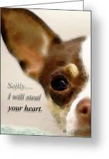 Chihuahua Dog Art - The Thief Greeting Card