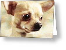 Chihuahua Dog - Painterly Greeting Card by Wingsdomain Art and Photography