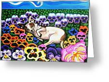 Chihuahua In Flowers Greeting Card by Genevieve Esson