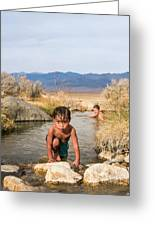 Child And Mother Playing In Hot Springs Greeting Card
