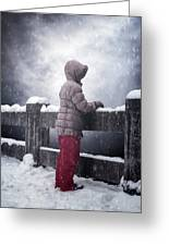 Child In Snow Greeting Card