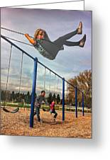 Child On Swing Greeting Card