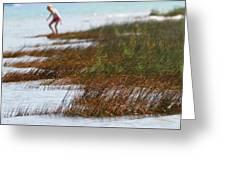 Child Playing On The Beach Mackinaw City Greeting Card