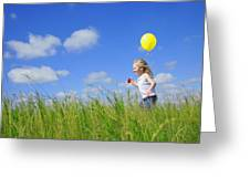 Child Running With A Balloon Greeting Card