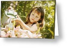 Child Waters Flowers Greeting Card