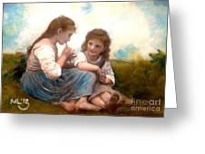 Childhood Idyllic By Bouguereau Greeting Card