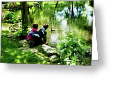 Children And Ducks In Park Greeting Card