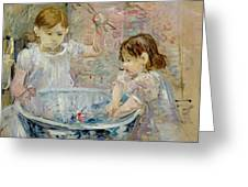 Children At The Basin Greeting Card