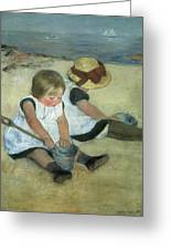 Children At The Seashore Greeting Card by Mary Cassatt