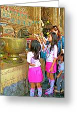 Children Bring Lotus Flowers To Royal Temple At Grand Palace Of Thailand Greeting Card