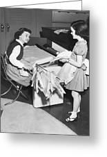 Children Doing Housework Greeting Card