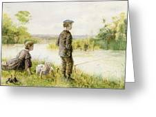 Children Fishing By A Stream Greeting Card