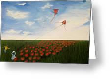 Children Flying Kites Greeting Card by Rejeena Niaz