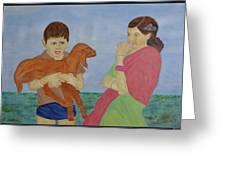 Children In Indian Village Greeting Card