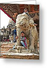 Children Love The Elephants In Patan Durbar Square In Lalitpur-nepal Greeting Card