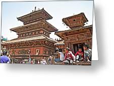 Children On Pagodas In Bhaktapur Durbar Square In Bhaktapur-nepal Greeting Card