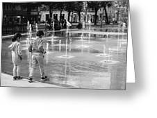 Children Play By Fountain Greeting Card
