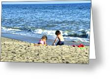 Children Playing On Beach Greeting Card