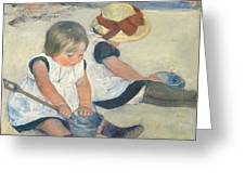 Children Playing On The Beach Greeting Card