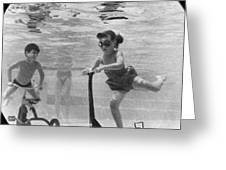 Children Playing Under Water Greeting Card